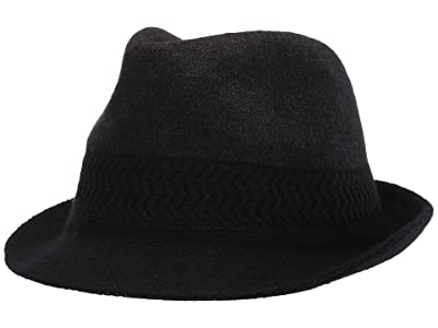 San Diego Hat Company KNH2017 Color Block Knit Fedora (Charcoal) Caps