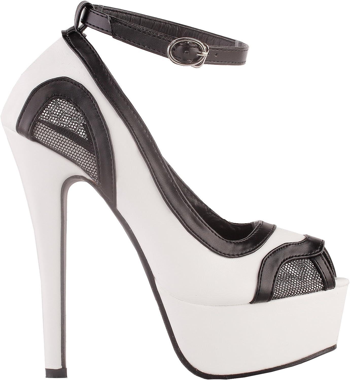 Show Story Fab Two Tone Cut-Out Mesh Ankle Strap Platform Stiletto Heel Dress Pumps,LF80865