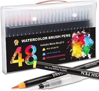 LONK Plumones Punta Pincel 48 Colores, Marcadores Punta Pincel 48 Rotulador Acuarelable+2 Pincel de Agua para Dibujar Colo...