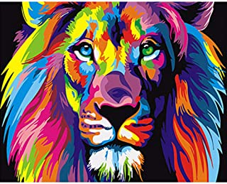 Paint By Numbers For Kids & Adult & Beginners _Diy Digital Large Living Room Bedroom Animal Coloring Decorative Paintings Pure Hand-Painted Oil Painting@Color Lion_Frameless 40X50Cm