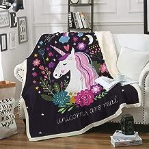 Sleepwish Cute Unicorn Blanket Girls Cartoon Unicorn with Flowers Fleece Blanket Black Sherpa Blanket for Kids Adults (Throw 50