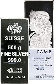 500 Gram PAMP Suisse Lady Fortuna 1/2 kg Kilo .999 Fine Silver Bar in Assay