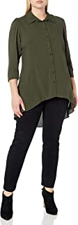 City Chic Women's Apparel Women's Plus Size Hi-lo Longline Shirt with Cuffed Elbow Detail