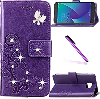 Asus Zenfone V V520KL Case LEECOCO Bling Crystal Diamonds Lucky Clover Floral with Card Slots Flip Stand PU Leather Wallet Slim Case Cover for Asus Zenfone V V520KL Diamond Clover Purple