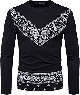 Mens T-Shirt, Autumn Winter Dashiki West African Paisley Print Pullover Tops