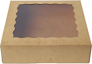[25pcs]9inch Kraft Brown Bakery Boxes,ONE MORE Large Pie Boxes with PVC Window Natural Disposable box for Cookie 9x9x2.5inch,25 of Pack