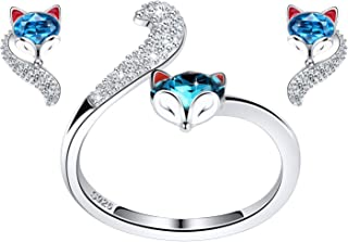 PLATO H S925 Sterling Silver Fox Animal Jewelry Sets Crystals for Women Teen Girl Ring and Earrings Anniversary Jewelry Mo...
