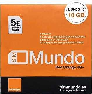 Orange Spain - 10 GB Prepaid simkaart in Spanje | 5€ krediet | 50 minuten bellen naar Nederland | Online activering alleen...