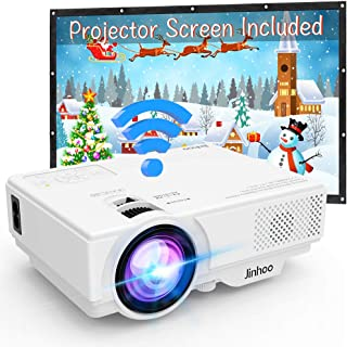 """WIFI Projector Jinhoo 4500 Lumens Wireless Mini Projector [100"""" Projector Screen Included]1080P Supported Compatible with Smartphone, Tablet, TV Stick, Game Player, USB, TF Home Theater White."""