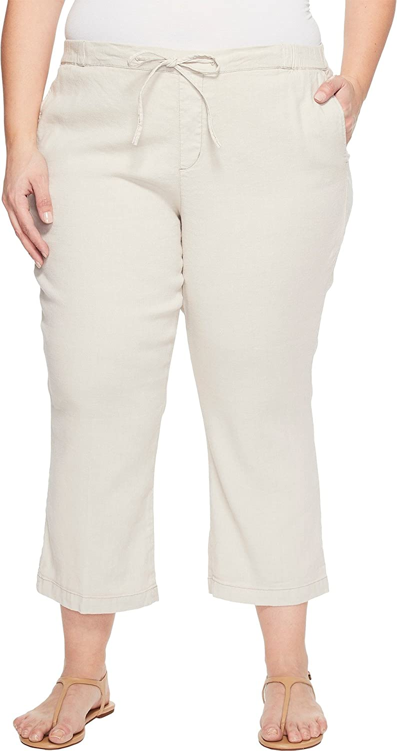 NYDJ Plus Size Womens Plue Size Drawstring Ankle Pants in Stone