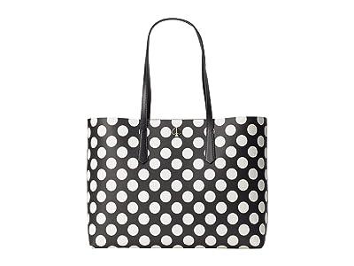 Kate Spade New York Molly Bikini Dot Large Tote (Black Multi) Handbags