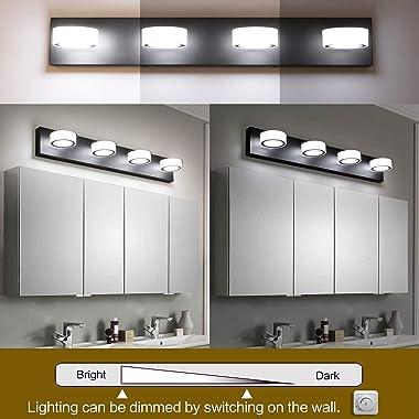 SOLFART LED Modern Lighting for Bathroom Over Mirror Lighting Fixtures Rotating Round Acrylic Black Base Contemporary Vanity