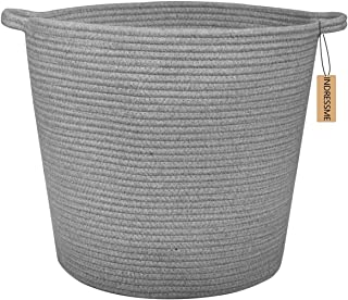 INDRESSME Extra Large Storage Baskets Cotton Rope Basket Woven Baby Laundry Basket with Handle for Diaper Toy Cute Home Decor addition Diaper Toy 16.0