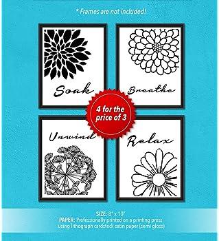Relax Soak Unwind Breathe Botanical Flowers Home Wall Art Print Decor Gift Set | Black & White Inspirational & Motiva...