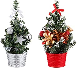 TOYANDONA 2pcs Mini Tabletop Christmas Tree Xmas Decor Small Tree with Xmas Decor Small Tree with in a Basket for Holiday ...
