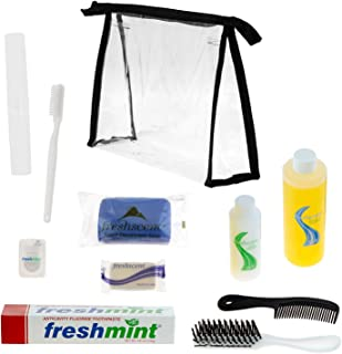 24 Kits - Large Bulk Case of Wholesale PREMIUM DELUXE Young Adult Airbnb Toiletries & Hygiene Kits for Women, Men, Travel, Charity wth 24 Clear Large PVC Travel Bags