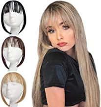 XBwig Clip in Bangs Fringe Hairpieces Hair Extensions One Piece Straight Cute Layered Front Neat Air Bang with Temples (Ash Blonde)