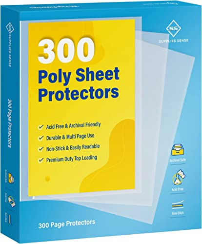 """300 Clear Top Loading Page Protectors Fits Copy Paper 8.5 x 11"""", 11-Hole Fits 3 Ring Binders, Multi Sheet Use: Great ..."""
