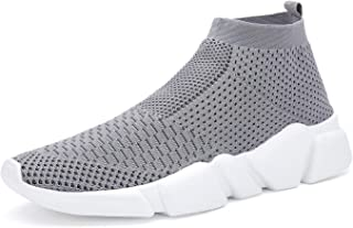 Santiro Women's Walking Sock Shoes Lightweight Slip-On Sneakers Casual Running Shoes Gym Athletic Shoes Grey 6.5 US