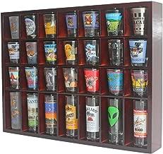28 Shot Glass Shooter Display Case Holder Cabinet Rack, solid wood, NO Door, Mahogany Finish (Mahogany)