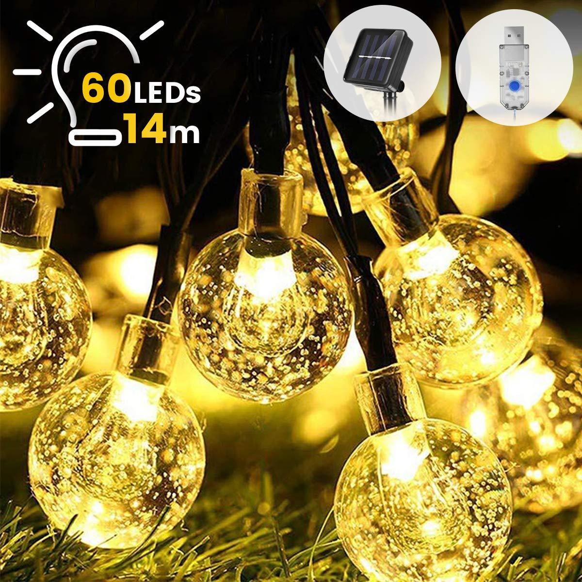 Guirnaldas Luces Exterior Solar ,WOWDSGN 60Led IP67 Resistente al agua 8 modos Cadena de Bola Cristal Luz para patio.Jardín, boda, fiesta, decoración del: Amazon.es: Iluminación