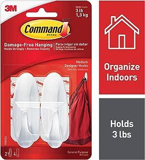Command White Hooks, 2 hooks, 4 strips, Organize Damage-Free, Holds 3 lbs (17081ES)