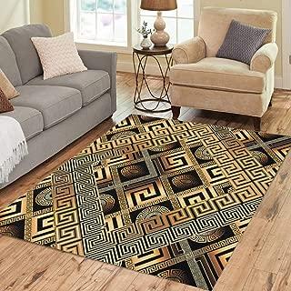 Pinbeam Area Rug Modern Meander Abstract Black Gold Greek Key 3D Home Decor Floor Rug 5' x 7' Carpet