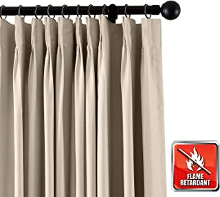 ChadMade Fireproof Flame Retardant Thermal Insulated Curtain Drapery Panel Pinch Pleat, Beige 52