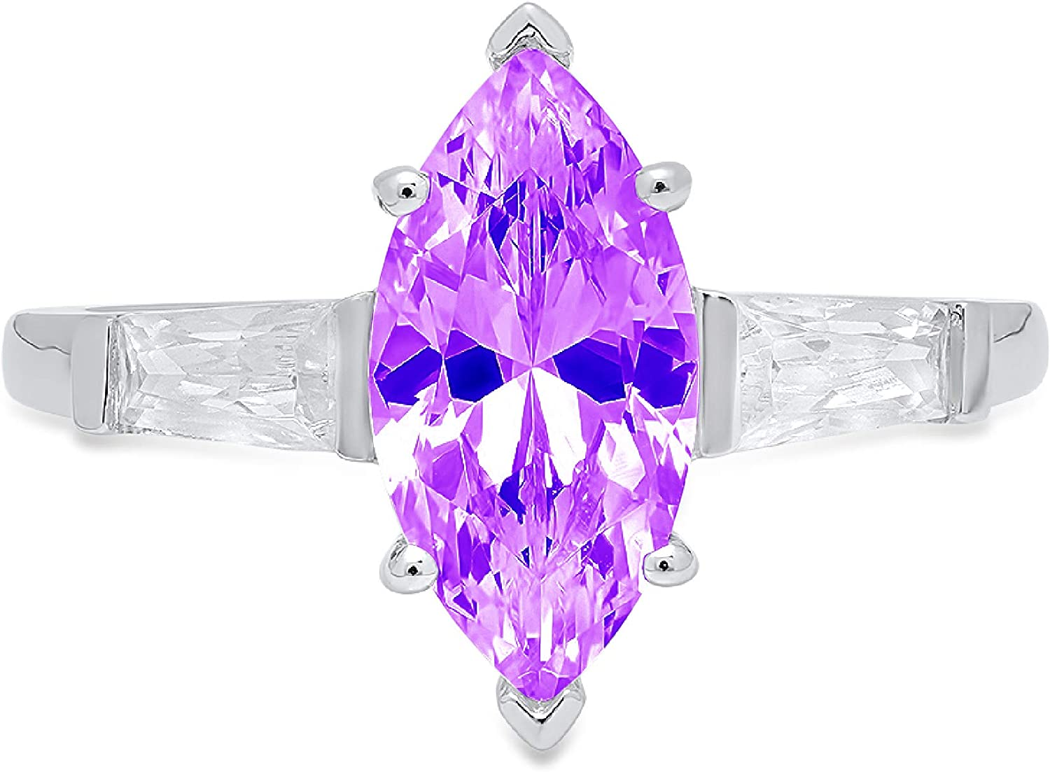 1.94ct Marquise Baguette cut 3 stone Solitaire with Accent Natural Purple Amethyst Gem Stone Ideal VVS1 Engagement Promise Statement Anniversary Bridal Wedding ring 14k White Gold