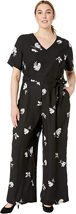 Plus Size Elbow Sleeve Tossed Flowers V-Neck Jumpsuit