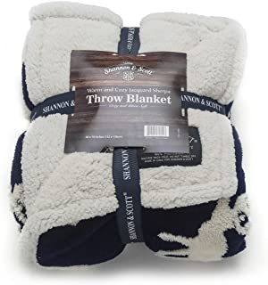 Shannon & Scott Jacquard/Sherpa with Moose Design Oversized Luxury Throw Blanket 60 in x 70 in (Blue)
