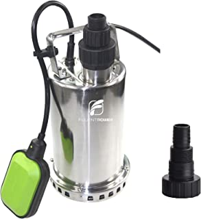 FLUENTPOWER 3/4 HP Utility Pump with Full Stainless Casing, Submersible Sump Water Pump with Float Switch,Max Lift 27 Ft and Max Flow 3300 GPH, 3/4
