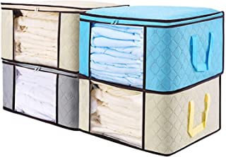 "Senbowe Large Foldable Clothes Storage Bags, [4 Pack] Collapsible Storage Bag Organizers, Large Clear Window, Handles, Zippers,for Clothes, Blankets, Closets, Dorm, Bedrooms - (21.7 x 15.7 x 9.8"")"