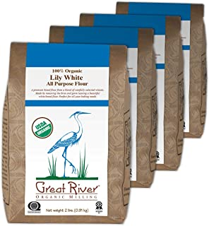 Great River Organic Milling, Lily White Bread Flour, All-Purpose, Organic, 2-Pounds (Pack of 4)