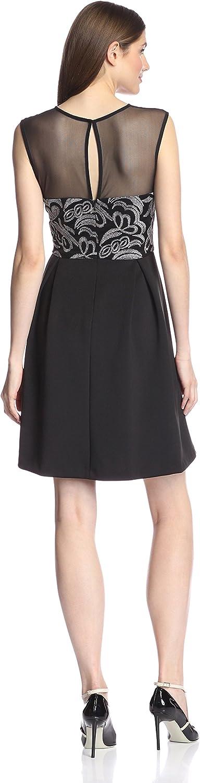 Sandra Darren Women's Sleeveless Special Occasion Scuba and Mesh Dress