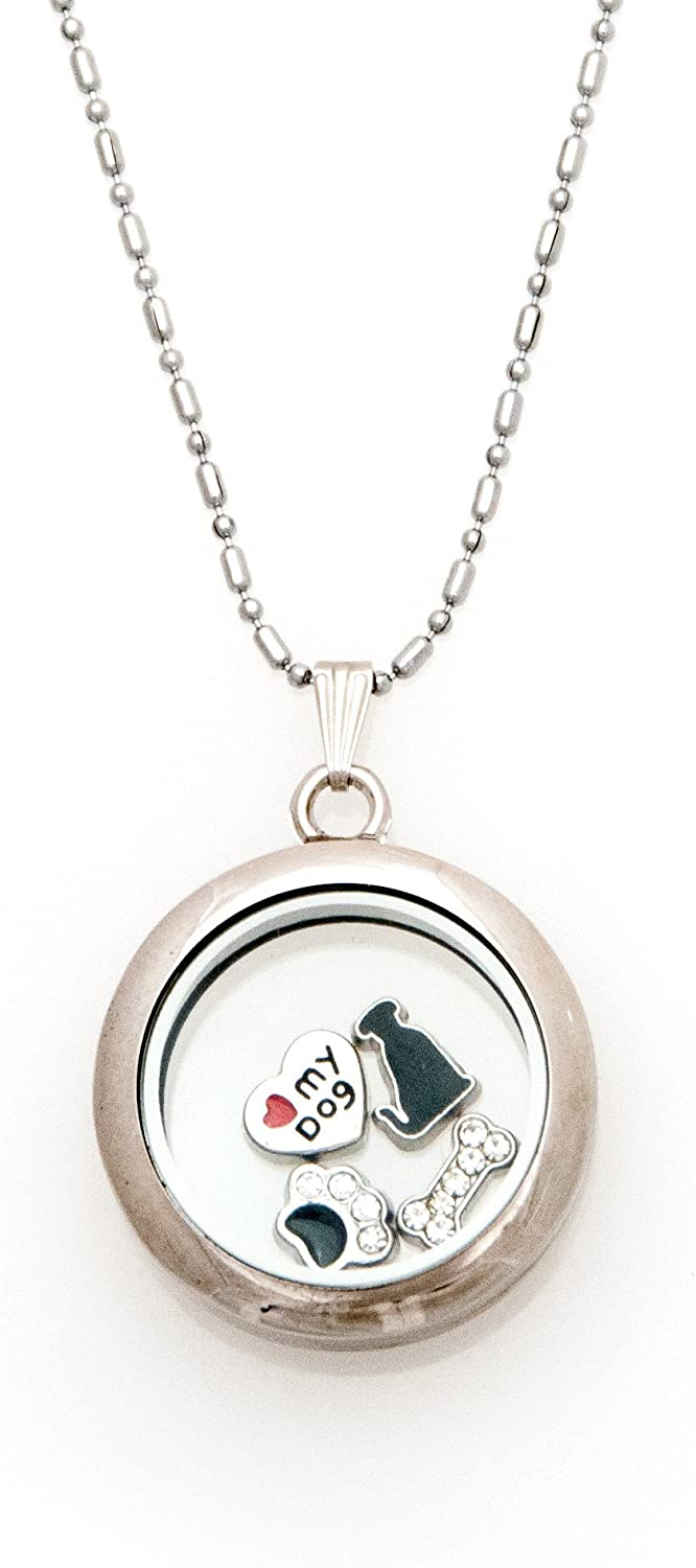 Fuller Joy 30mm Round Magnetic Floating Locket Necklace with Charms