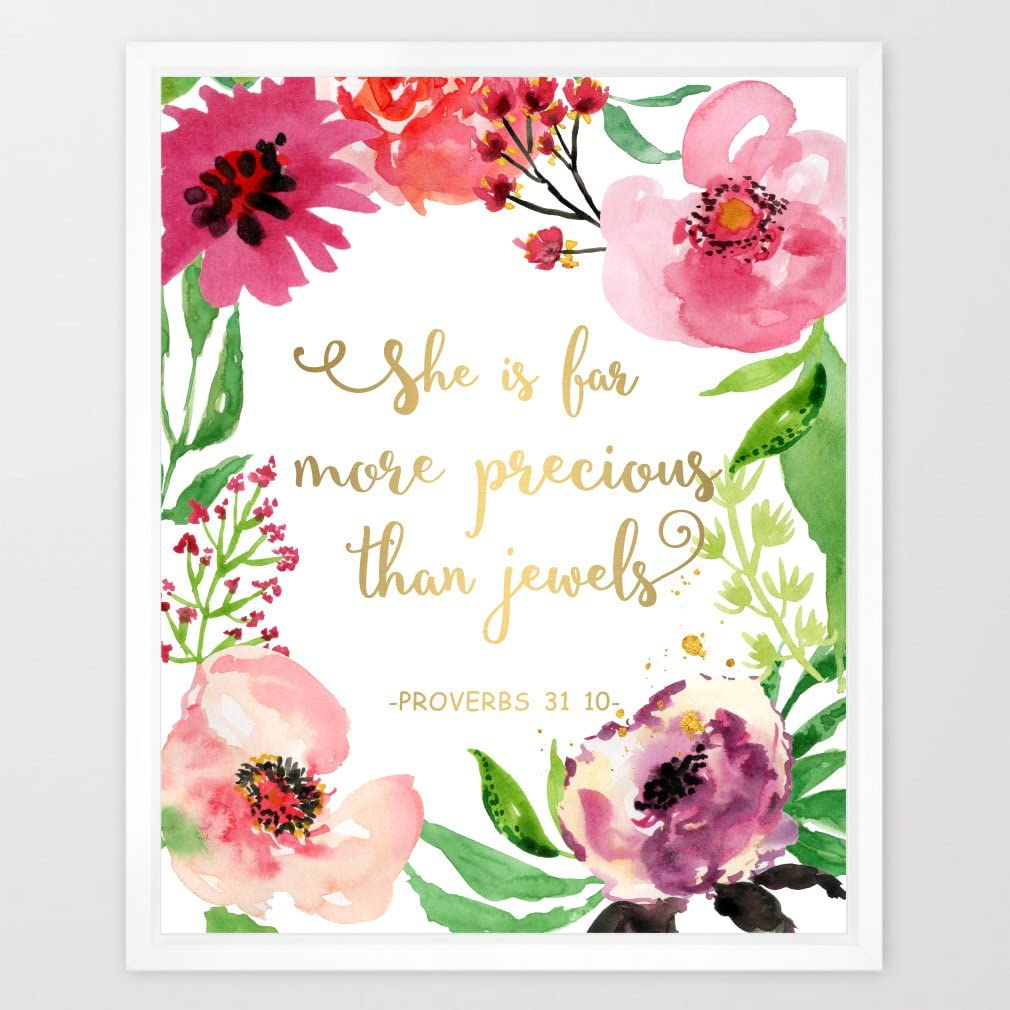 Eleville 8X10 She is far More Precious Than Jewels Real Gold Foil and Floral Watercolor Art Print (Unframed) Bible Quote Kids Wall Art Nursery Decor Inspirational Print Wedding Gift Quote Print WG024