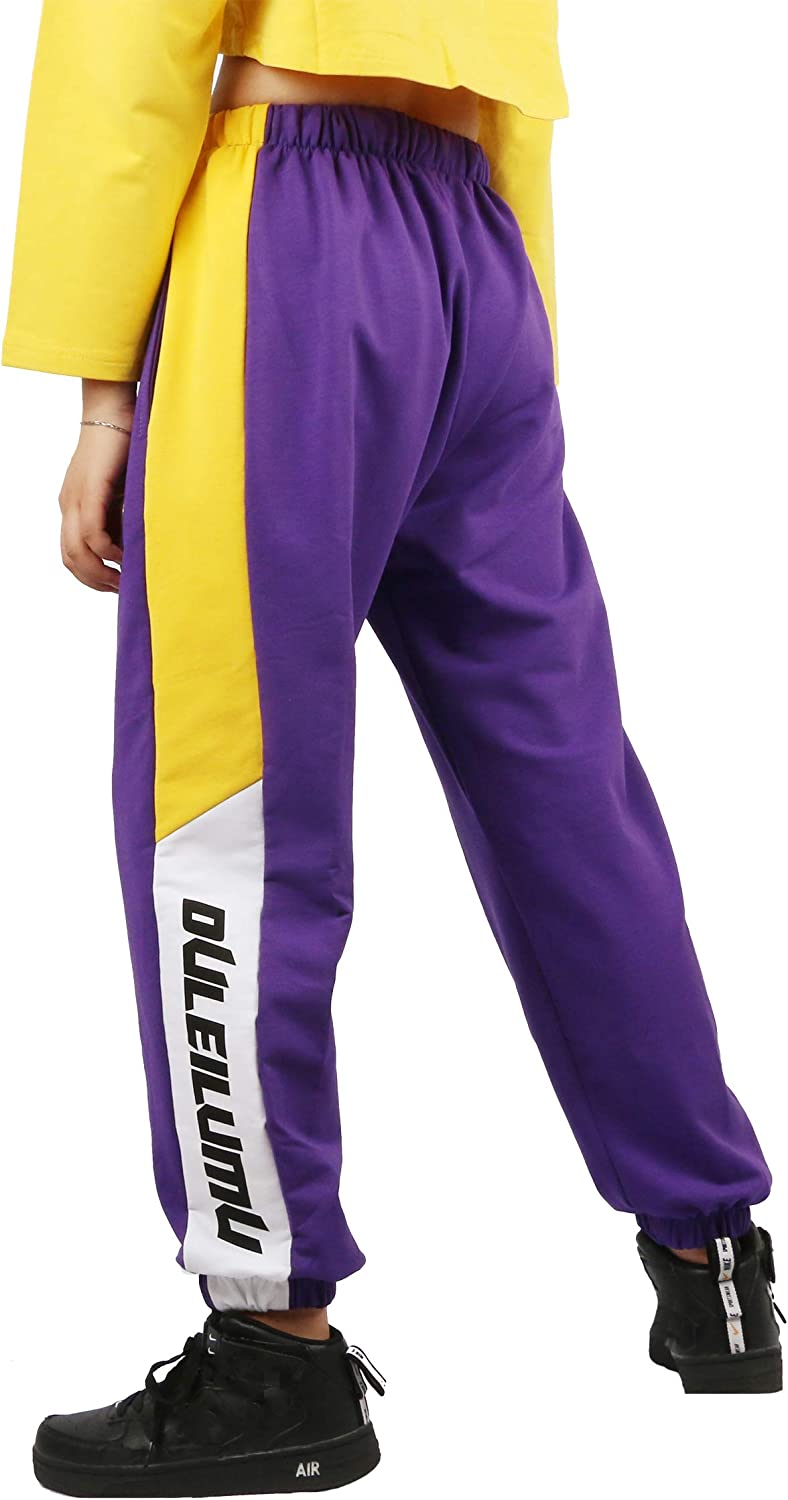 Rolanko Girls Jogger Pants Drawstring Active Kids Girls Jogger Sweatpants with Pocket for Boys Hip Hop Streetwear Trousers