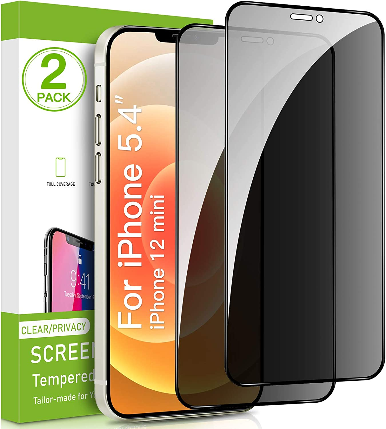Intermerge 2 Pack Privacy Screen Protector Compatible with iPhone 12 mini,Premium 4D Curved Edge to Edge Full Coverage Privacy Tempered Glass Screen Protector Replacement for iPhone 12 mini-5.4 inch