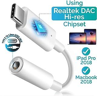 Pixel 2 USB C Digital to 3.5mm Headphone Audio Jack Adapter, Insten Type C to 3.5mm Aux Converter w/Realtek DAC Hi-res Chi...