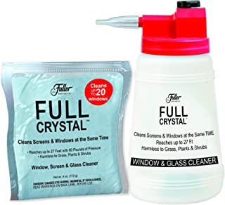 Full Crystal Kit - Bottle, Lid with Hose Attachment, and 4 oz. Crystal Powder Exterior Window Cleaner Packet for Glass and...