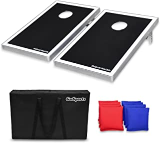 GoSports Cornhole Bean Bag Toss Game Set - Superior Aluminum Frame (American Flag, Football, LED and Classic designs)