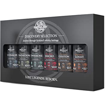 The Discovery Selection by The Lost Distillery Company - Limited edition gift pack of 6 x 5cl miniature bottles. 43% Abv. Blended malt Scotch