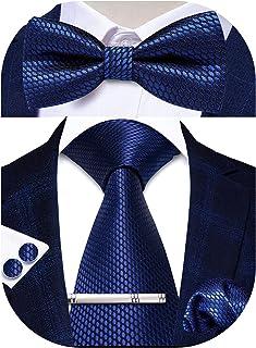 Sponsored Ad - Hi-Tie Men's Ties Set Silk Necktie Bow Tie and Pocket Square Cufflinks Set with Silver Tie Clip or Lapel Pi...
