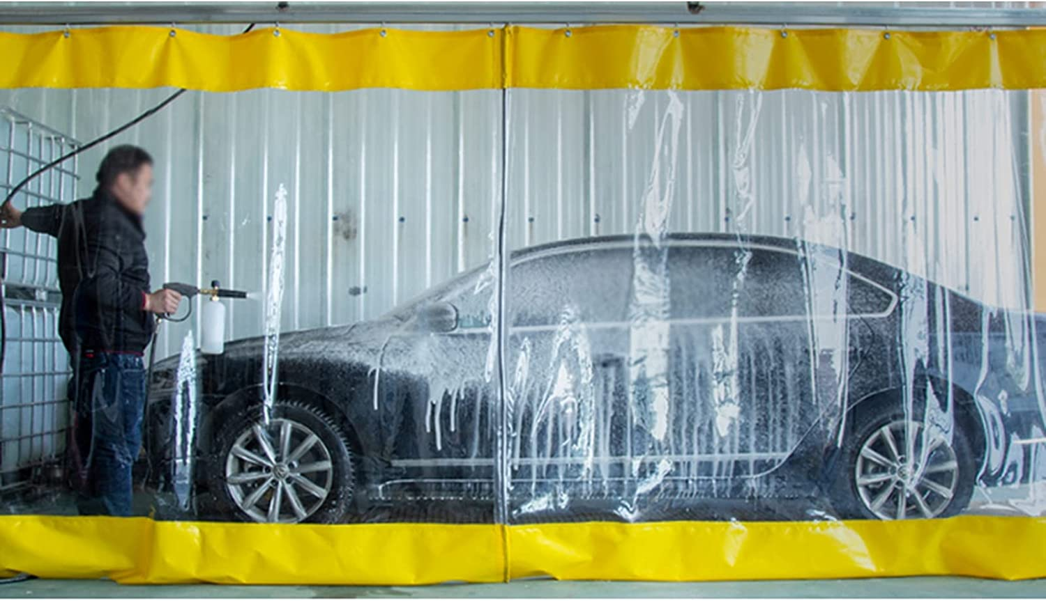 AMSXNOO Waterproof Vinyl Curtain with Collap Topics on TV 0.6mm Eyelets Soft quality assurance