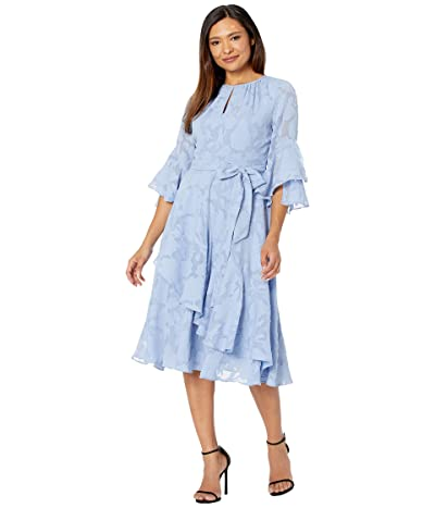 Tahari by ASL Clipped Chiffon Floral Dress with Ruffle Sleeve and Cascade Skirt (Chambray Blue) Women