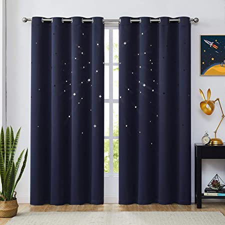 Deconovo Blue Curtains Total Blackout Curtain 100/% Light Blocking Double Layer Grommet Window Drapes Thermal Insulated Noise Cancellation for Bedroom Kids Boy Girl Nursery 1 Pair 52x72 Inch Sky Blue