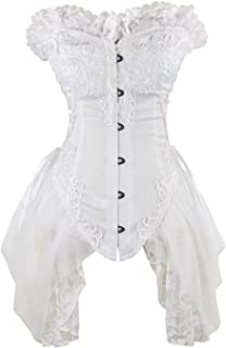 CHARMIAN Women's Sexy Strapless Floral Embroidery Gothic Corset with Lace Skirt