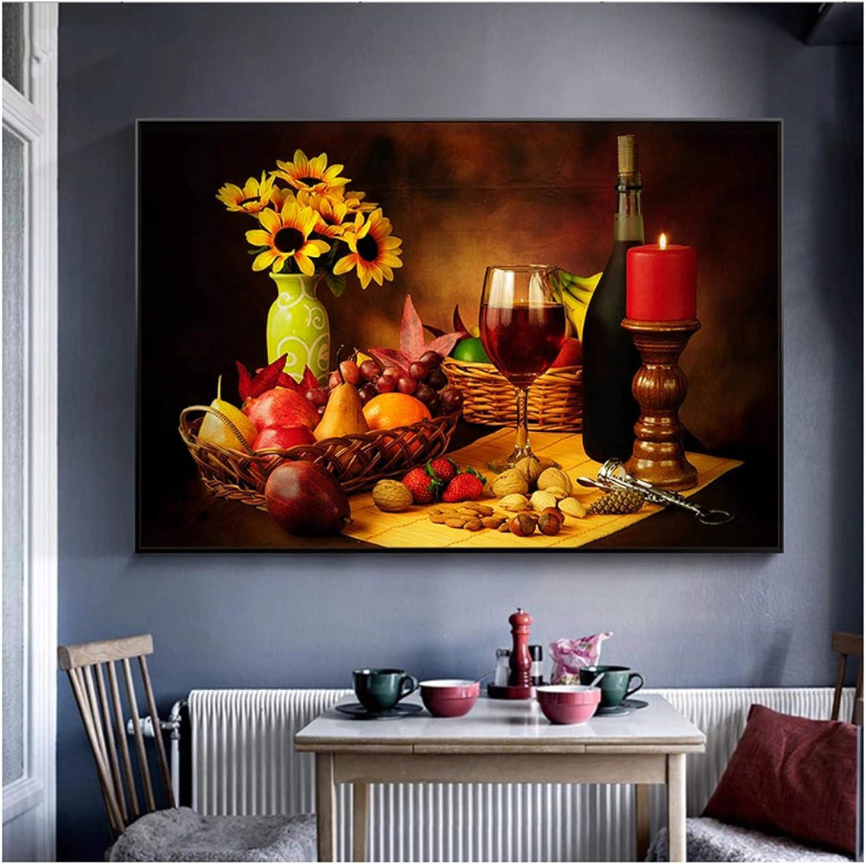 1 pieza bodegón vino y frutas candelabros grandes carteles artísticos de pared para cocina decoración del hogar impresión HD en lienzo pintura al óleo dormitorio