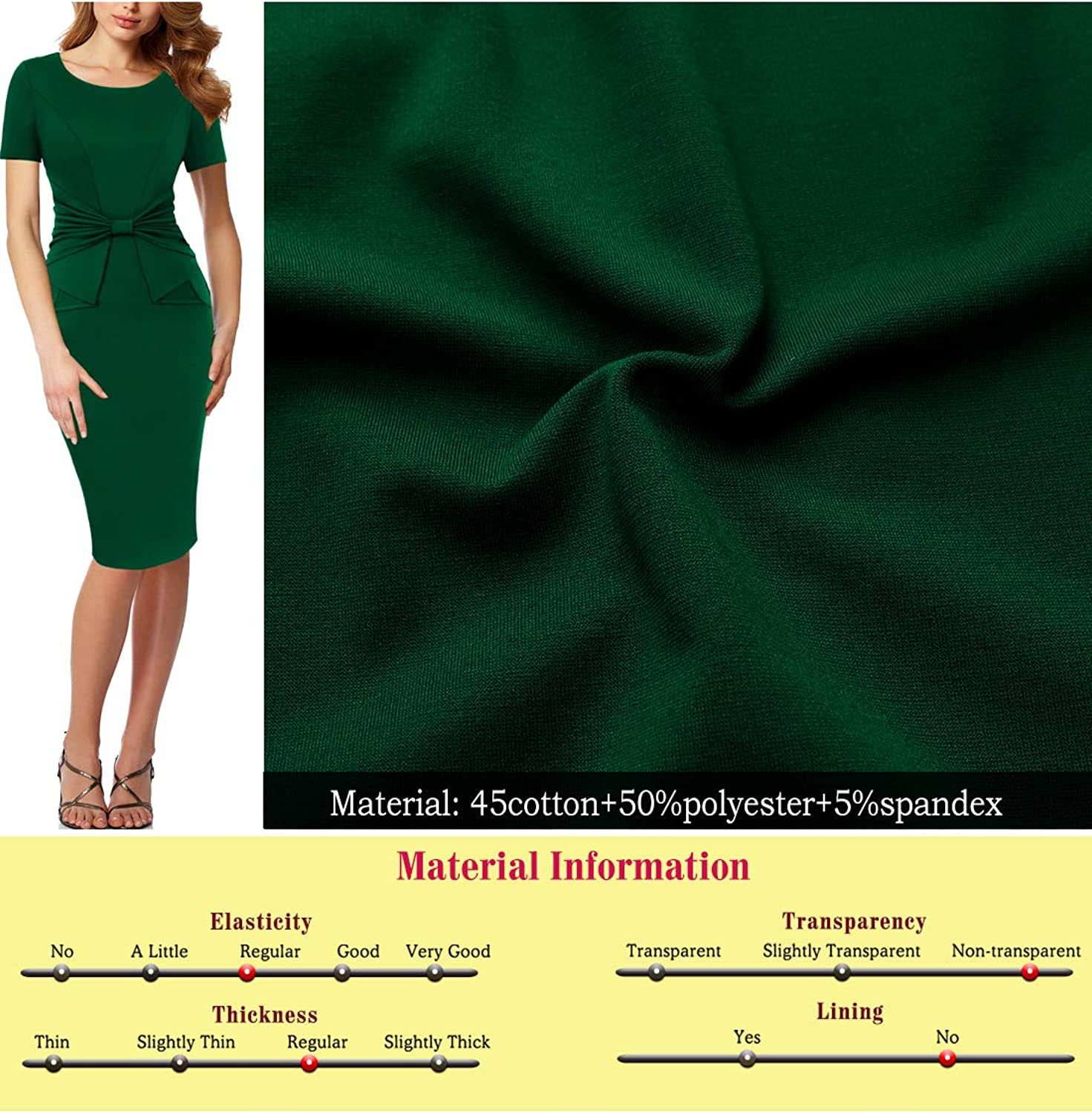 Vfshow Womens Pleated Bow Wear to Work Business Office Church Sheath Dress